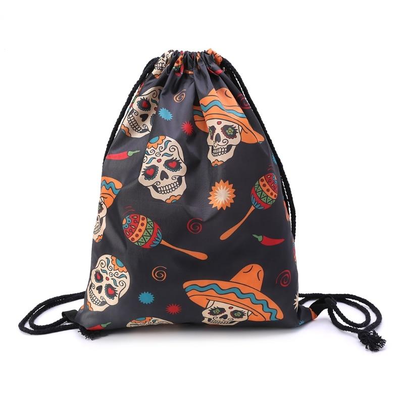 2018 New Halloween Pattern Print School Drawstring Book Bag Sport Swim Backpack Gift School Drawstring Bag