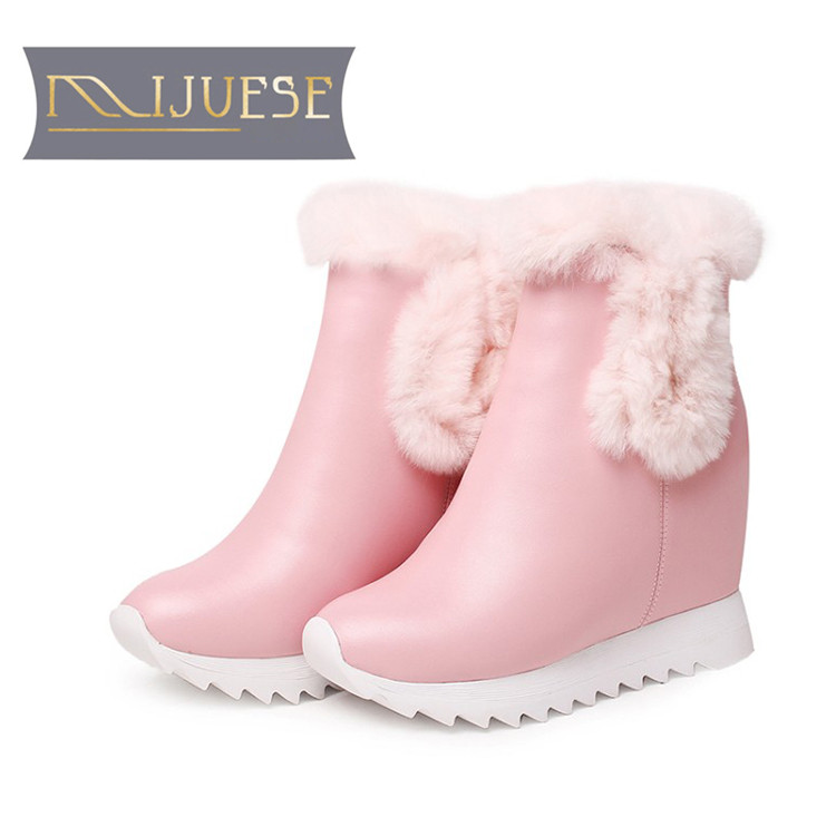 цена на MLJUESE 2019 women Mid calf boots cow leather wool fur warm winter platform wedges short plush women snow boots casual boots