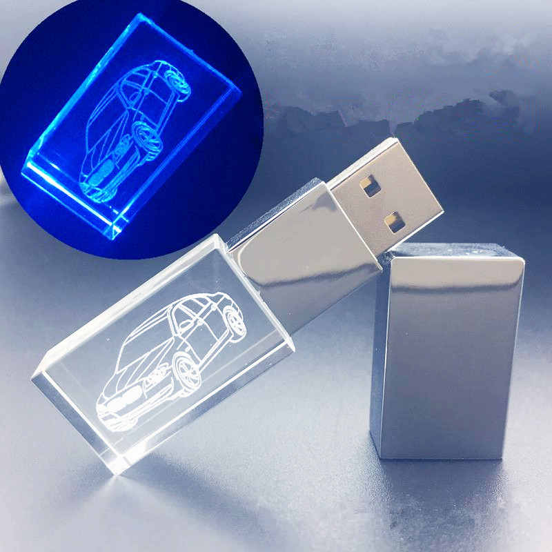 Image 2 - With LED Light Custom Logo Crystal USB Flash Pen Drive 4GB 8GB 16GB 32GB USB2.0 for Gift Pendrive Stick(Over 10pcs Free Logo)-in USB Flash Drives from Computer & Office