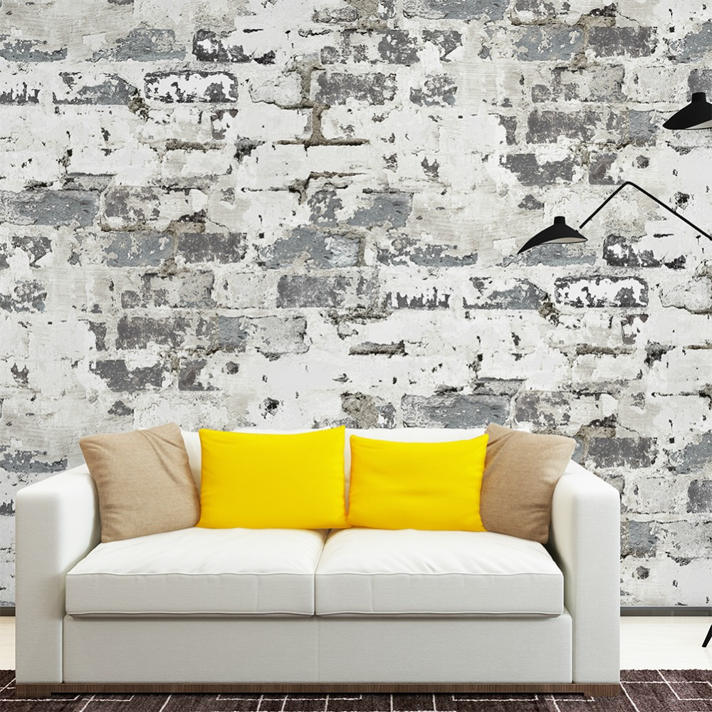 HaokHome Modern Faux Brick PVC Wallpaper Rust Red/White 3D Textured Stone Paper Rolls Living room Bedroom Home Wall Decoration haokhome european floral damask 3d wallpaper rolls brown champagne black white textured living room bedroom home art decoration
