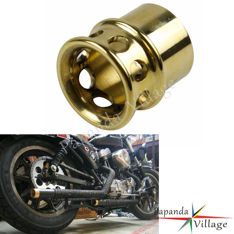 Brass Motorbike Drilled Exhaust Tips Universal for Harley Triumph XS650 Custom Chopper Cafe Racer w/ 1 3/4 Diameter Pipe