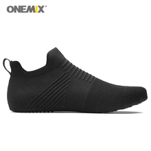 Onemix men indoor walking shoes slip-on innner slippers white high-elastic no glue environmentally light cool man indoor shoes