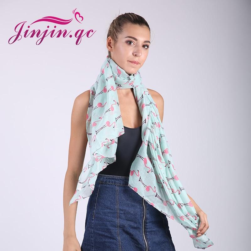 Jinjin.QC Brand Fashion Soft Women Flamingo Print Scarf butterfly echarpe Foulard femme spider scarves dinosaurs bandana jilbab