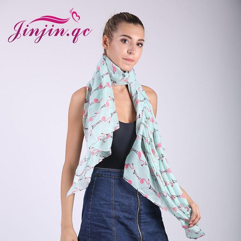 Jinjin. QC Marca Moda Suave Mulheres Flamingo Impressão borboleta Cachecol echarpe Foulard femme aranha dinossauros bandana lenços jilbab