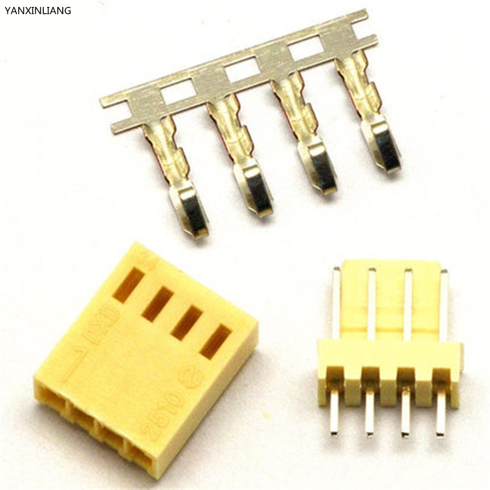 50 Sets Kit Conector 4Pin KF2510 Reta Pitch 2.54mm Pin Header + Terminal + Habitação