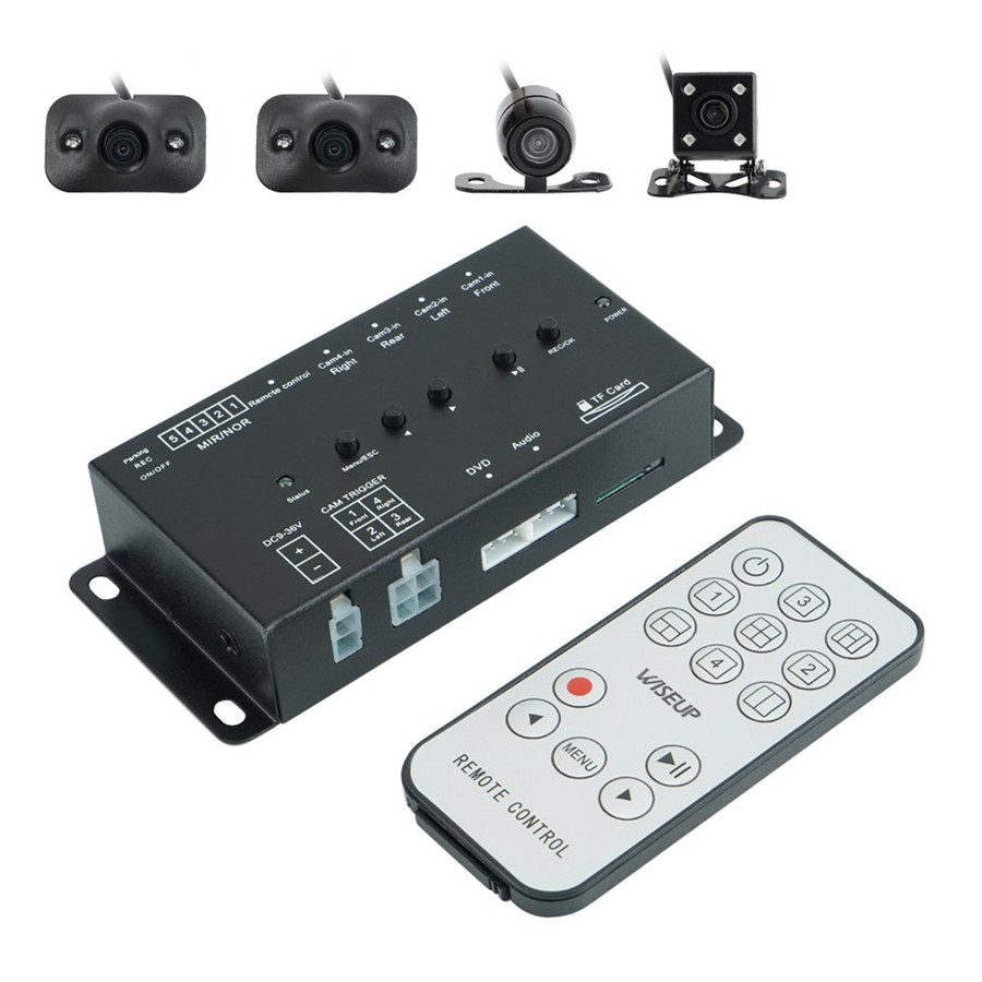360 градусов полный вид парковки с спереди/сзади/вправо/влево DVR и видео мониторинга Управление коробка переключения с 4 камеры