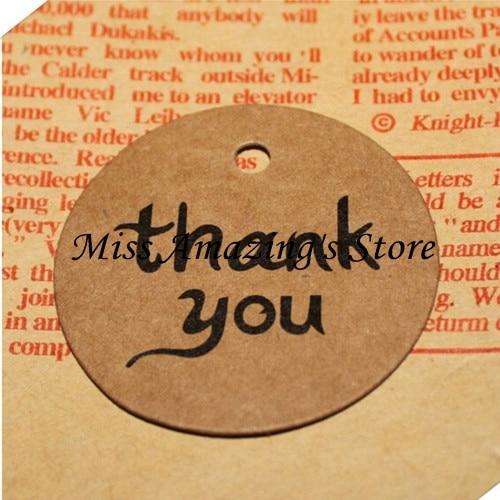 50 Sheets Kraft Paper Thank You Card Christmas Gift: 50pcs 4cm Thank You Round Kraft Paper Gift Hang Tags