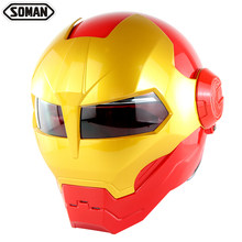 Full Face Iron Man Motorcycle Helmet Flip Up Verspa Ironman Skull capacetes Robot Casco Soman 515 DOT Approval(China)