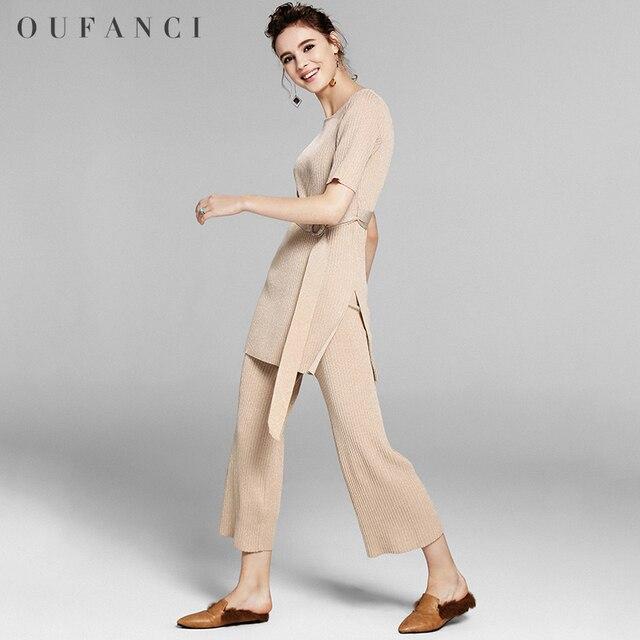 8d1afcacc6b Oufanci Брендовые вечерние женские Брючный костюм для дам осень 2017 г. тонкий  эластичный пояс Женские
