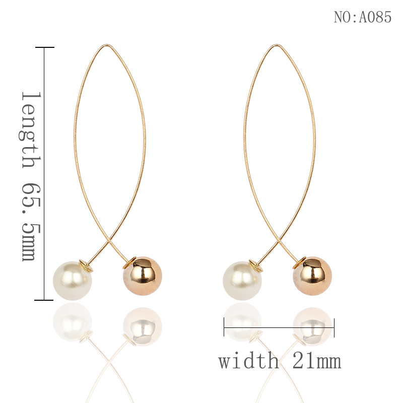 Simple Temperament Gold Pearl Earrings Geometric Zinc Alloy Hyperbole Hanging Dangle Drop Earrings for Women Aretes De Mujer in Drop Earrings from Jewelry Accessories