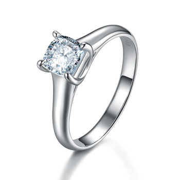 Classic Lucida 1Ct Cushion Cut Synthetic Diamonds Wedding Solitaire Ring Solid 925 Sterling Silver White Gold Color Jewerly