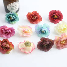 1/10/50/ PCS artificial retro camellia artificial flower silk flower DIY wedding arch flower wall background shooting decorative(China)