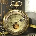 Роскошные Скелет Moonphase Ретро Античная Каркасного Механически Карманные Часы Цепь Мужчин Ожерелье Бизнес Карманные и Fob Часы