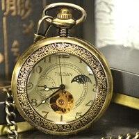 หรูหราโครงกระดูกสำริดR Etroโบราณโครงกระดูกวิศวกรรมนาฬิกาพ็อกเก็ผู้ชายสร้อยคอโซ่ธุรกิจพ็อก