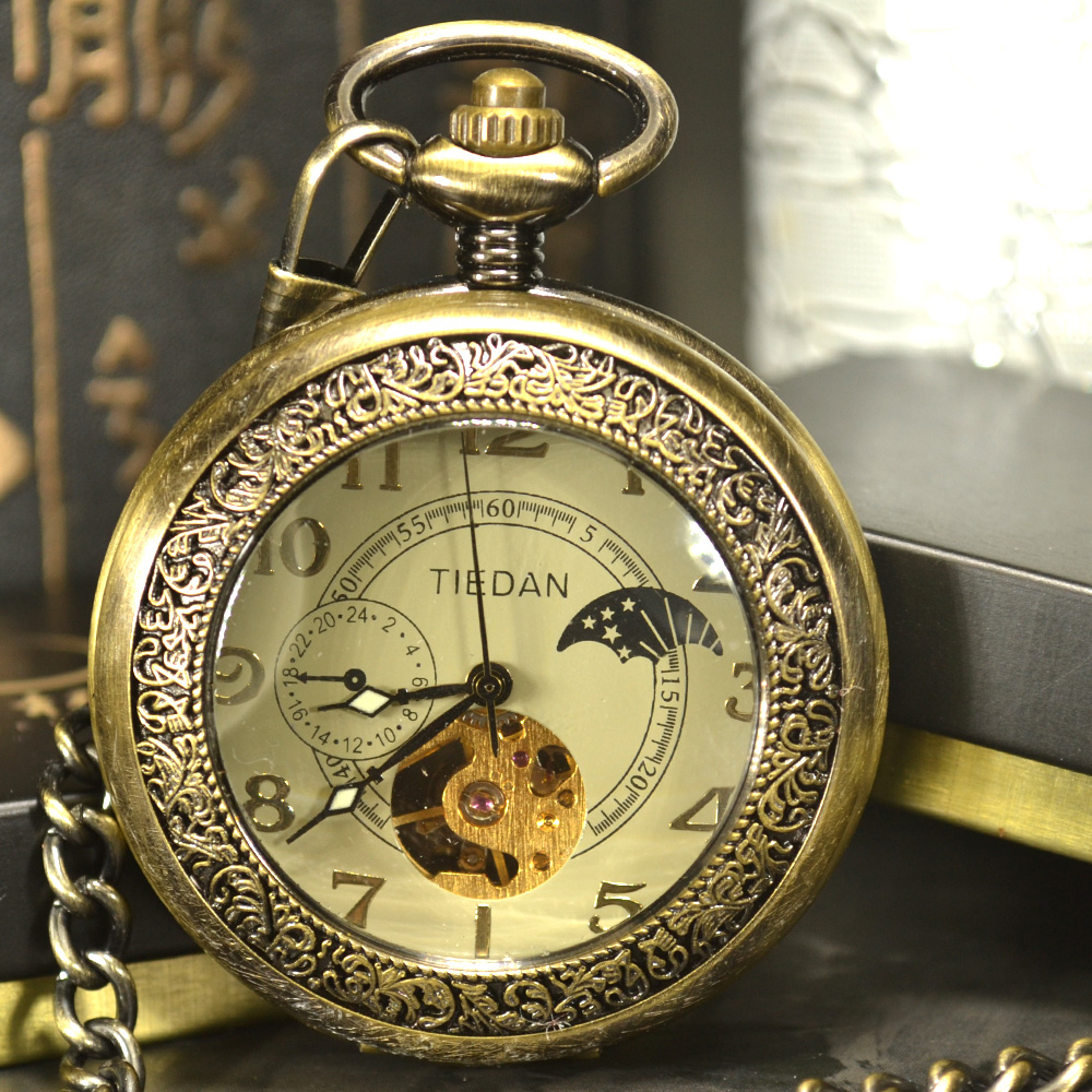 Luxury Skeleton Bronze Retro Antique Skeleton Mechanical Pocket Watch Men Chain Necklace Business Pocket & Fob Watches retro steampunk bronze pocket watch eagle wings hollow quartz fob watch necklace pendant chain antique clock men women gift