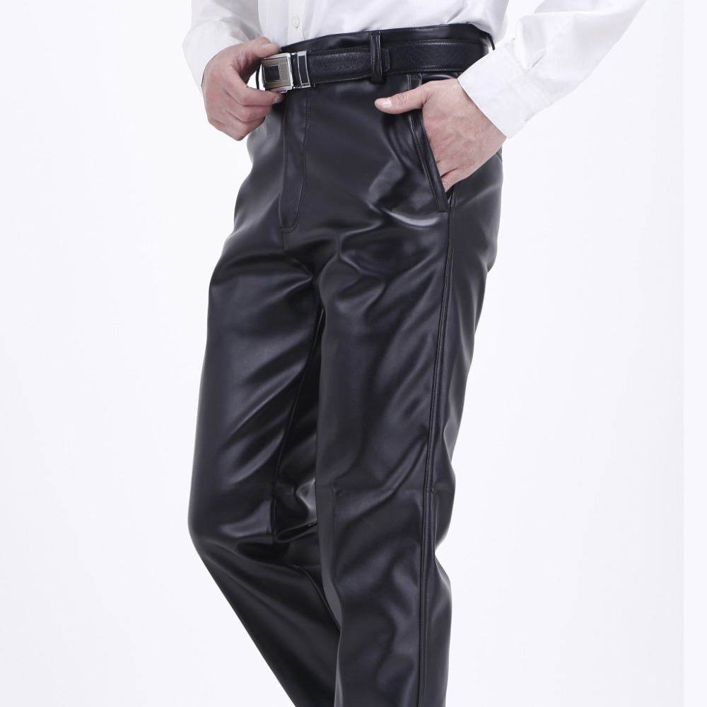 Image 4 - Thoshine Brand Summer Men Leather Pants Elastic High Waist Lightweight Casual PU Leather Trousers Thin Motor Pants Plus Size-in Leather Pants from Men's Clothing