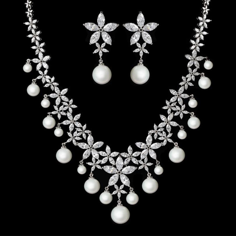 High end fashion bride necklace jewelry wedding silver ...