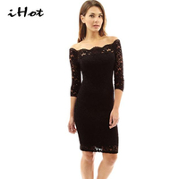 IHOT Sexy Outfits For Women Boat Neck 3 4 Sleeve Black Red Floral Lace Off Shoulder