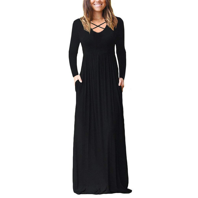 Autumn Winter Women Long Dress 2018 Gothic Solid Pockets Long Sleeve Maxi Dresses Vintage Cross Midi Dress Women Clothes