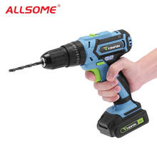 ALLSOME Tonfon 3 In 1 12V Rechargable Electric Screwdriver Cordless lithium battery Power Dril IImpact Drill with Bits HT2336