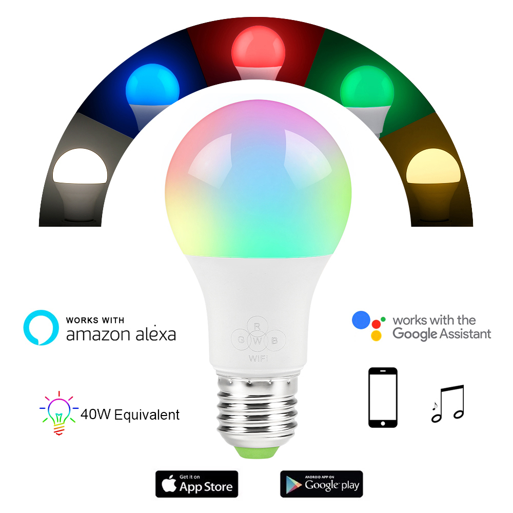 Magic 4.5W 6.5 E27 RGB Led Light Bulb Smart Home Bluetooth Lamp Color Dimmable AC85-265V Work with ALexa Amazon Google Home(China)