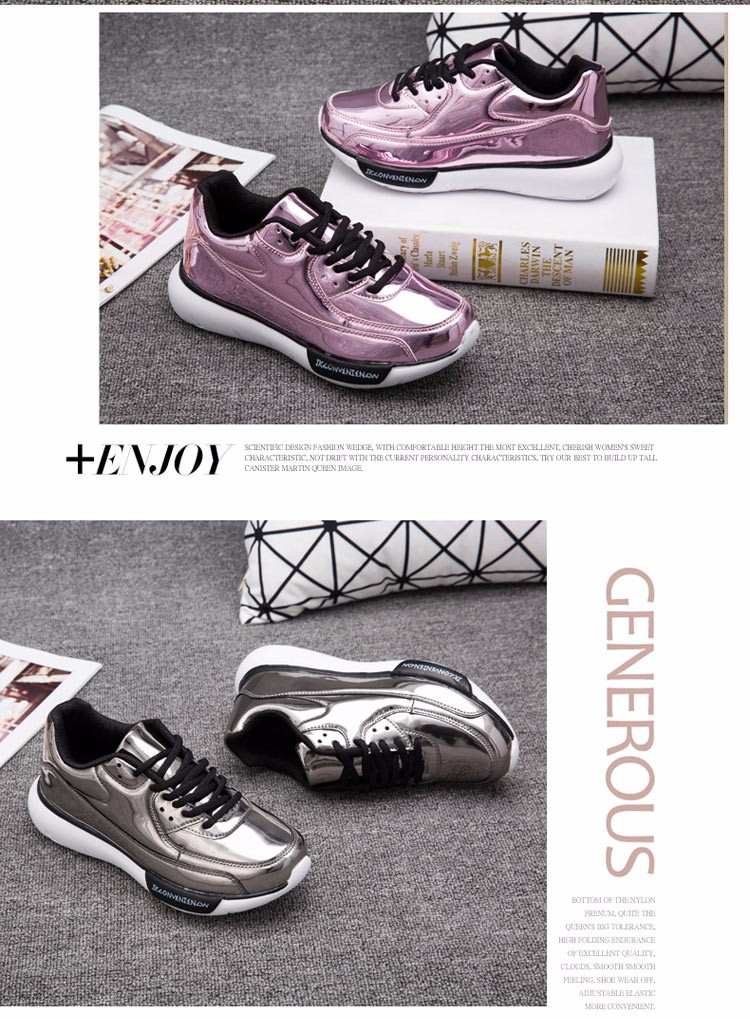 Mirror Surface Women 90 Casual Shoes Fashion Spring Lace Up Platform Womens Shoes Low Top Lace Up Trainers Women Gold Shoes YD52 (7)