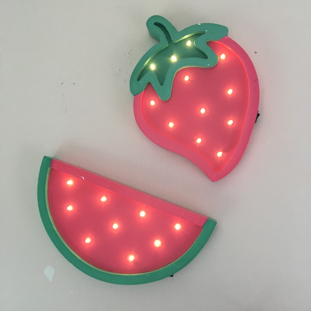 Wooden Pink Strawberry Watermelon LED Night Light Baby Sleeping Lamp Strange New Lamp Holiday Party Decorations As Kiss Gift