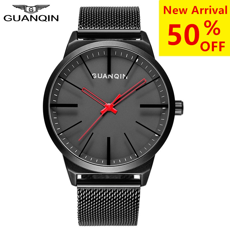 цена Watch Men GUANQIN Quartz Watches Red Needle Waterproof Clock Stainless Steel Leather Sapphire Wristwatches relogio masculino