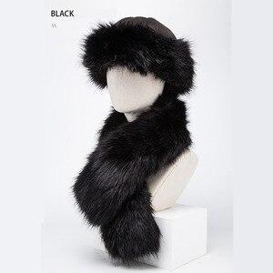 Image 4 - BISON DENIM  2 pcs Faux Fur Hat Winter Warm Russian Cap Earflap Snow Caps hat Ushanka Bomber Hats with Fur Scarf M9495