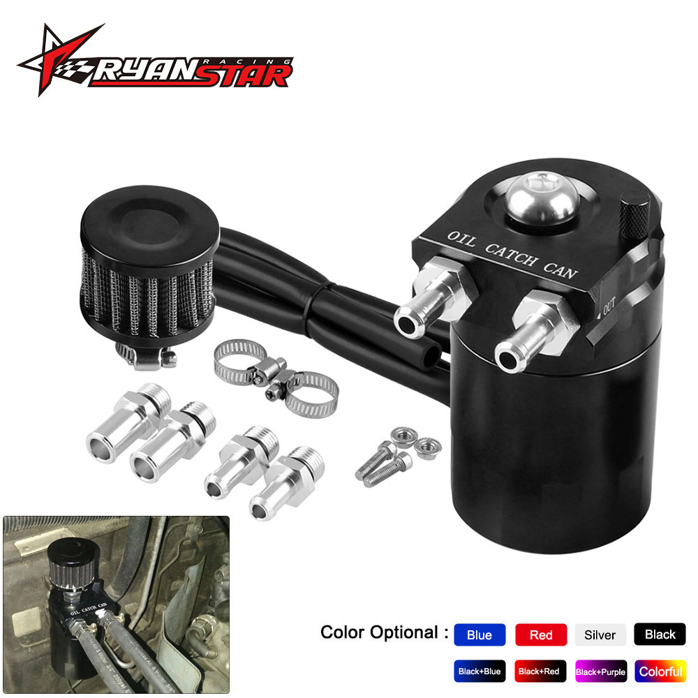 Oil Catch Can Tank With Breather Tank Reservoir Filter Baffled Aluminum Universal OCC025
