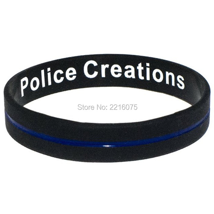 products band mom law support mother thin bracelet and wristband enforcement police line blue silicone wrist