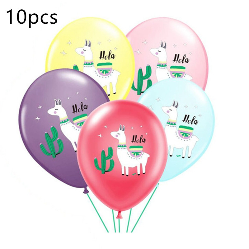 OLOEY 12inch Multicolor 10pcs/lot Cartoon Animal Alpaca Llama Latex Balloons Wedding Baby Shower Birthday Party Decor Globos