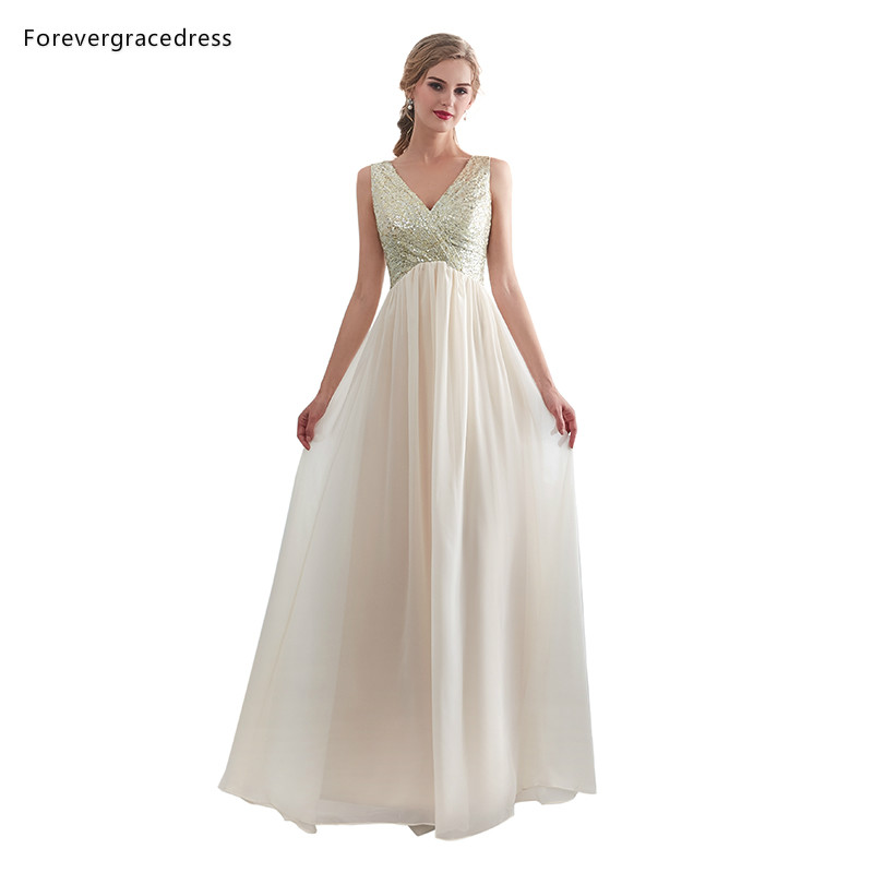 Forevergracedress Champagne   Bridesmaid     Dresses   2019 A Line V Neck Wedding Party Guest Maid of Honor Gowns Plus Size Custom Made