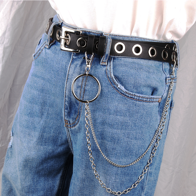 New Women Pu Leather Harness Body Belts Chain Waist Bondage Garters Lady Punk Silver Pin Alloy Buckle Straps Jeans Belt Students