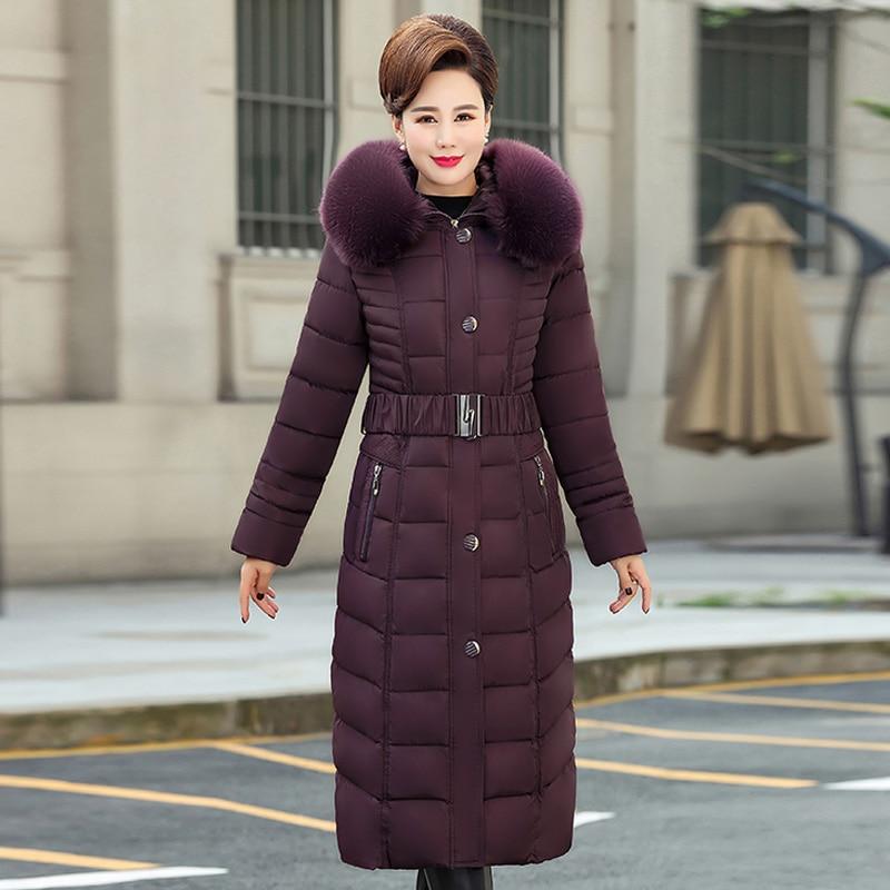 2019 X Long Winter Jacket Women Hooded Plus Size 5XL Winter Coat Fur Collar Thicken Warm Down Jacket Female Outerwear Long Parka in Parkas from Women 39 s Clothing