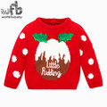 Retail 2-10 years knitted sweaters cartoon full-sleeves red girls baby kids children Clothes spring autumn fall winter