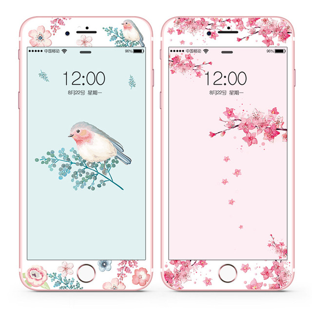 Tempered Glass Screen Protector For iPhone 6s Plus 6 Plus 7 8 Plus Flower Cartoon Curved Edge Relief Full Cover Glass Film SF34
