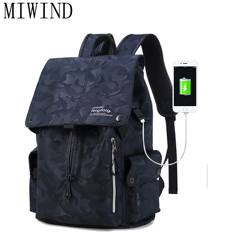MIWINDmale usb charge backpack men travel bags waterproof blue camouflage backpack for boy school bags for teenagers rucksack 42MIWINDmale usb charge backpack men travel bags waterproof blue camouflage backpack for boy school bags for teenagers rucksack 42