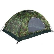 Tienda portátil de camuflaje para acampar al aire libre, para 1 4 personas, para acampar al aire libre, recreación, doble par, tienda de campaña a prueba de ultravioleta