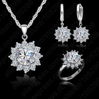 JEXXI New Fashion Flower Sun Cubic Zirconia Newest Genuine Silver Jewelry Sets Earrings Pendant Necklace Rings