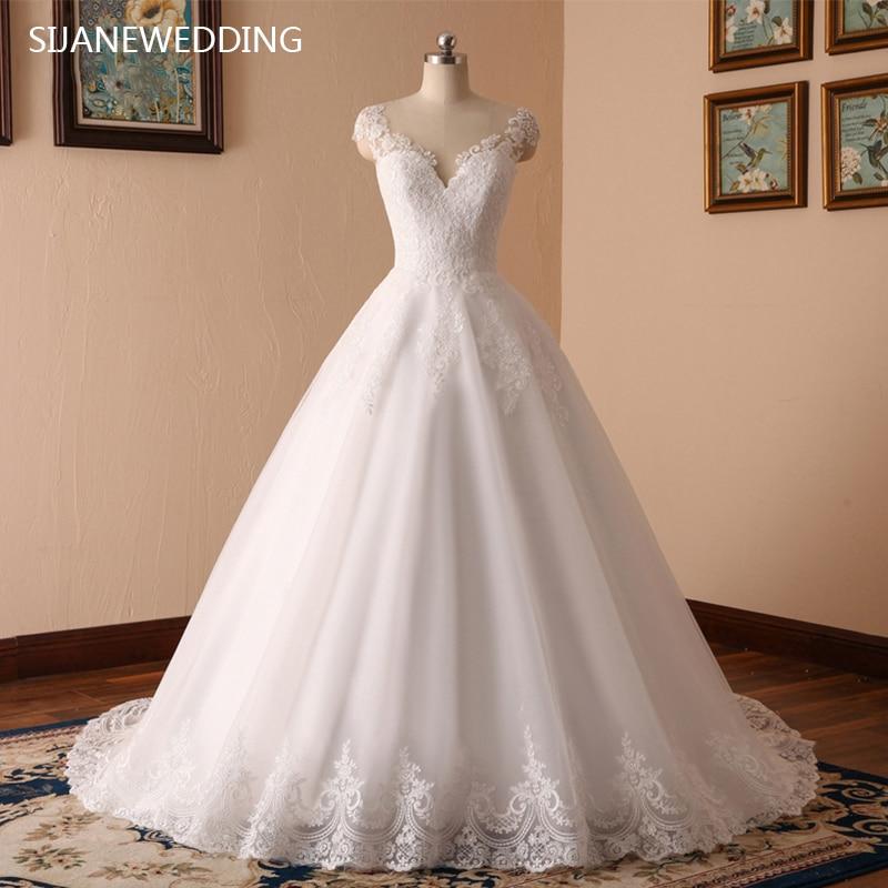 SIJANE Elgance/вечерние платье с круглым вырезом, фатиновое платье принцессы с короткими рукавами, Vestido De Novia, платье в пол, 0376