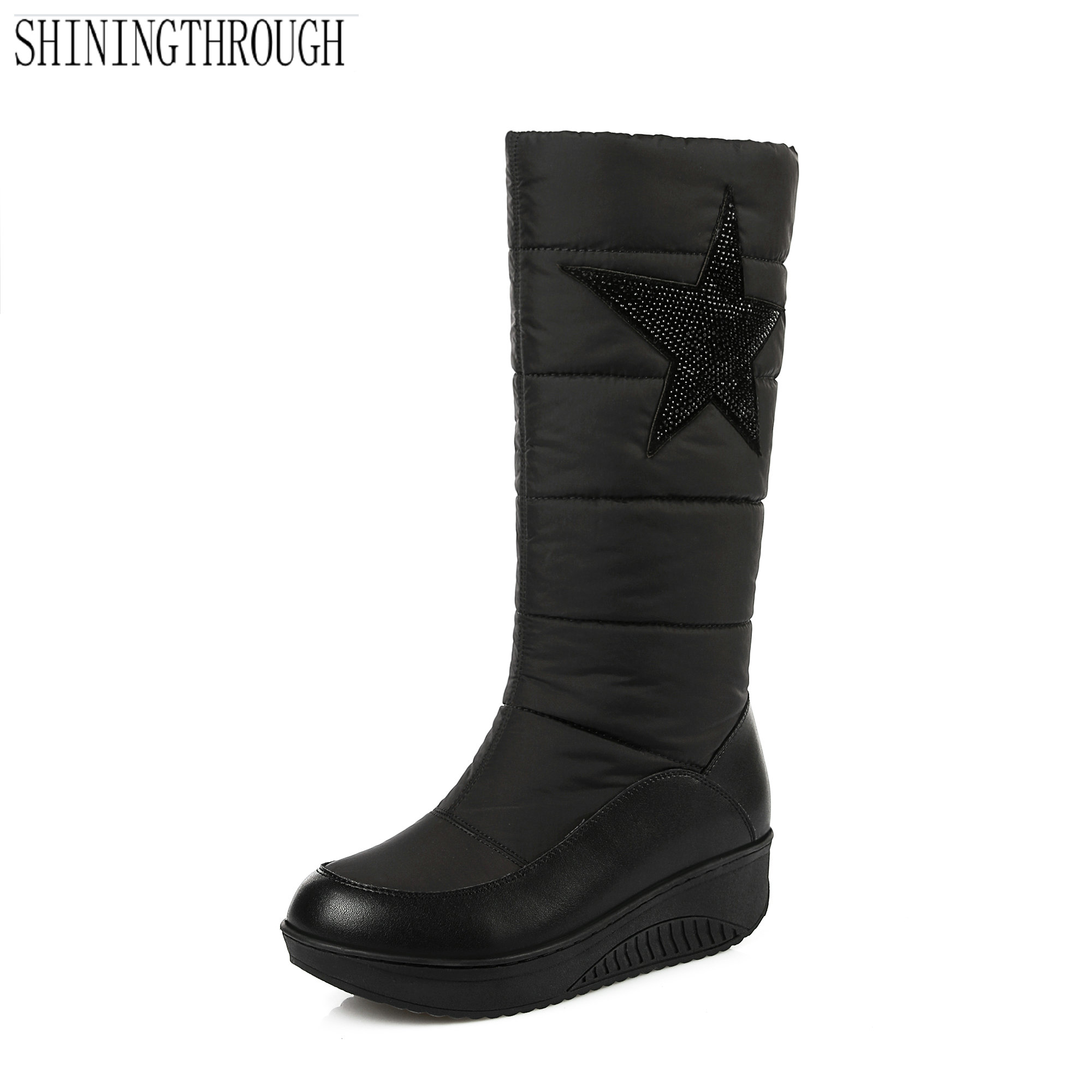 NEW fasion knee high boots low heels women boots winter warm snow boots flat platform shoes woman black white large size 34-43 winter warm snow boots cotton shoes flat heels knee high boots women boots wholesale high quality