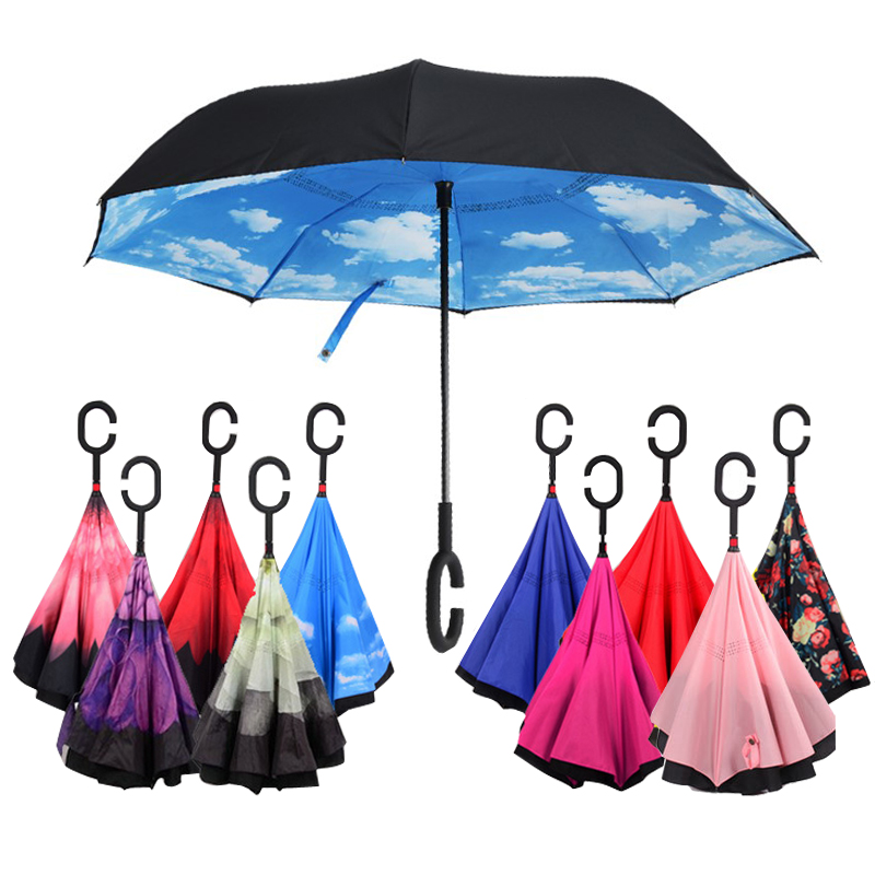 Sunny Rainy Self Stand Protection Windproof Umbrellas Folding Double Layer Inverted Chuva Umbrella C-Hook Hands For Car