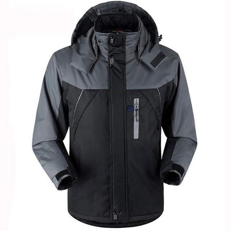 Unisex Winter Outdoor Intelligent USB Work Hooded Heating Jacket Coats Adjustable Temperature Control Safety Clothing DSY0010-in Safety Clothing from Security & Protection