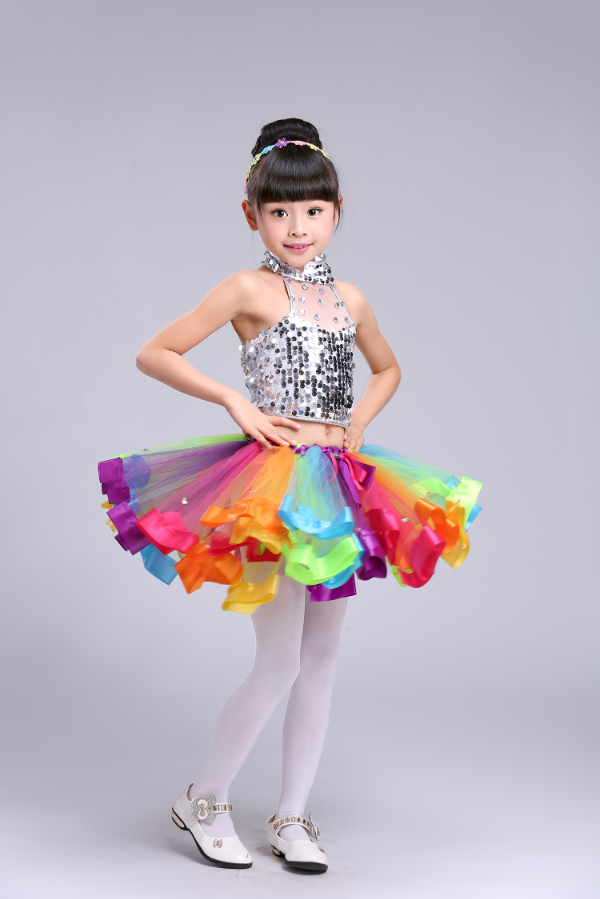 217d1cdf56 US $23.63 |Girls Tutu Dance Skirt Colorful Gauze Stage Sequin Dress Jazz  Dance Costume DS Performance Stage Dress-in Ballroom from Novelty & Special  ...