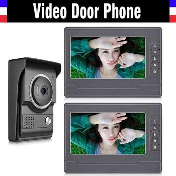 7 inch video door phone system video intercom doorbell doorphones kit 2 LCD Monitor+1 IR Night Nision Camera for home villa