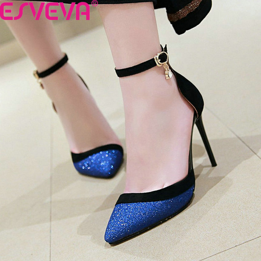 ESVEVA 2019 <font><b>Women</b></font> Pumps Thin High <font><b>Heel</b></font> Mixed Color Fashion Sequins PU Hollow Pointed Toe Buckle Bling Ladies Shoes <font><b>Size</b></font> 34-43 image