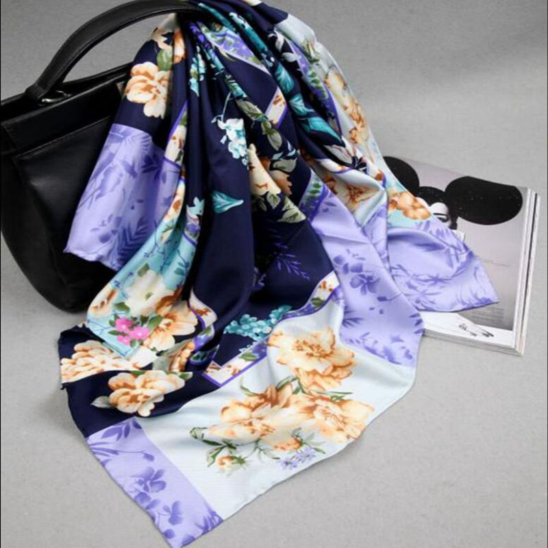 Floral Print 100% Silk   Scarf     Wraps   for Women's Fashion Hijab Head   Scarves   35 x 35 Inches