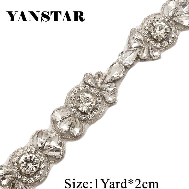 YANSTAR 1Yard Rhinestone Appliques For Wedding Dress Belts Clear Rose Gold  Crystal Appliques For Bridal Gown YS926 ecc370ba4f4e