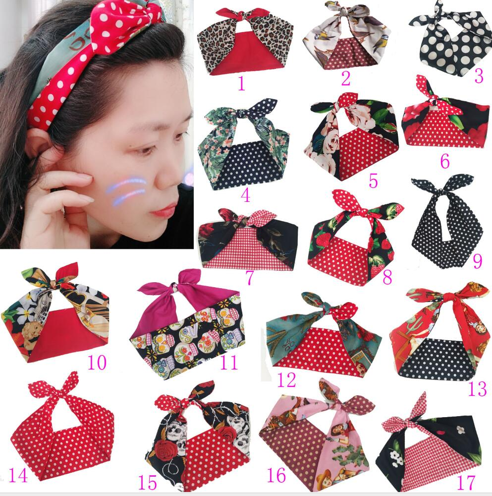 3pcs/ Lot Women Vintage 50s Skull Print Dot Headband Hair Accessories Hairband Bow Rockabilly Pinup Wire Scarf 16 Styles